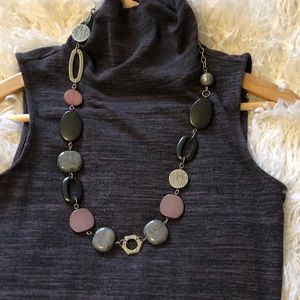 Chunky necklace- Metal and Stones